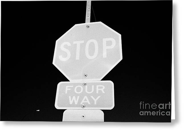 four way stop sign with crosswalk Canada Greeting Card