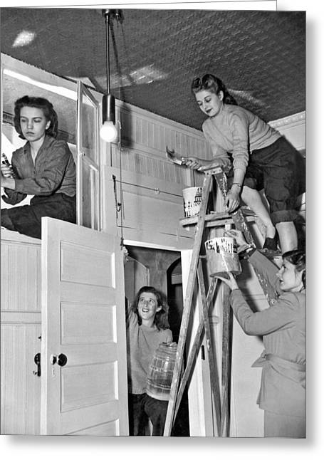 Four Women Fix Up Home Greeting Card by Underwood Archives