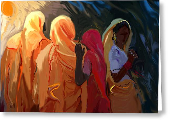Four Women Greeting Card by Shubnum Gill