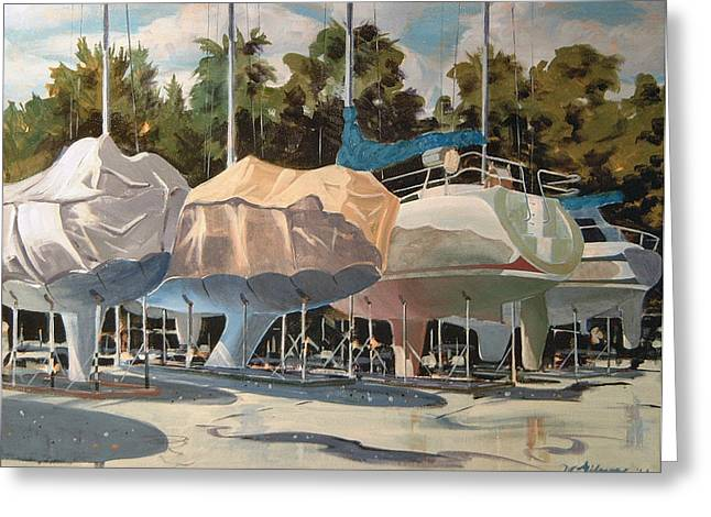 Four Yachts At Rest Greeting Card
