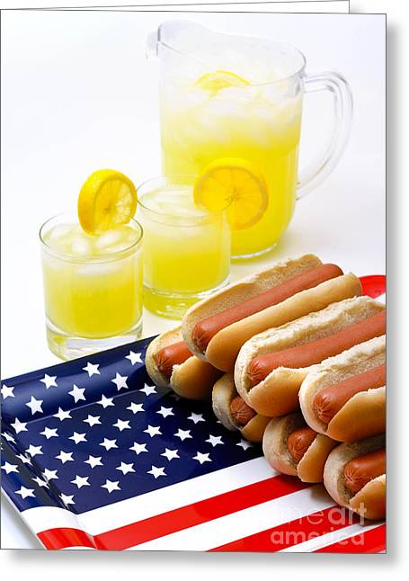 Fourth Of July Hot Dogs And Lemonade Greeting Card