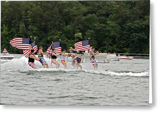 Fourth Of July On The Lake Greeting Card by Susan Leggett