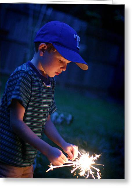 Fourth With A Sparkler Greeting Card by Kelly Hazel