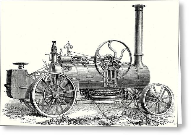 Fowlers Traction Engine For Steam Ploughing Greeting Card