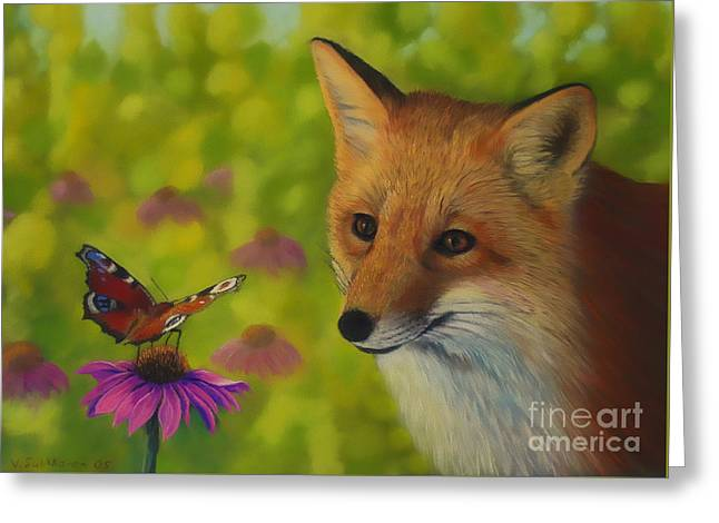 Fox And Butterfly Greeting Card by Veikko Suikkanen