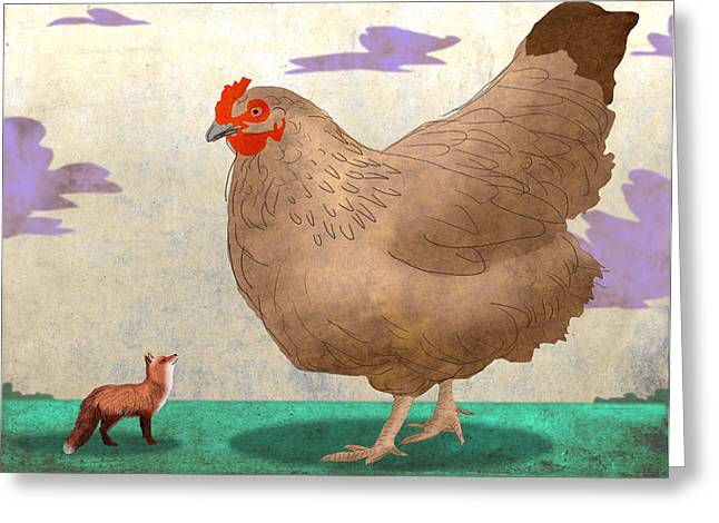 Fox And Hen Greeting Card by Steve Dininno