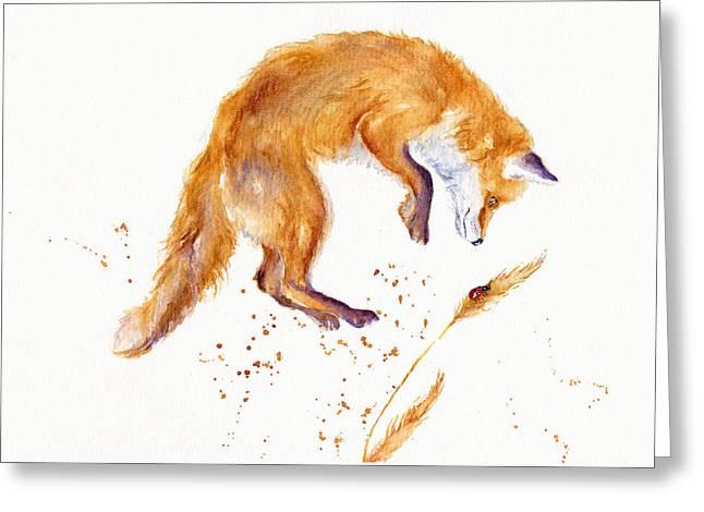 Fox Hunting Greeting Card by Debra Hall
