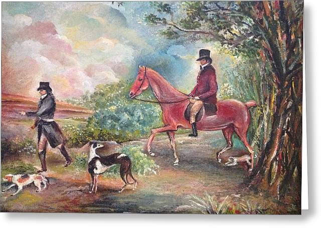 Greeting Card featuring the painting Fox Hunting by Egidio Graziani