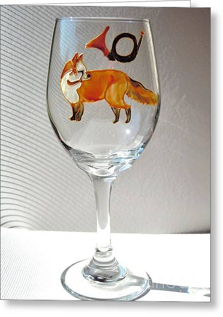 Fox Hunting On Glass Greeting Card by Pauline Ross