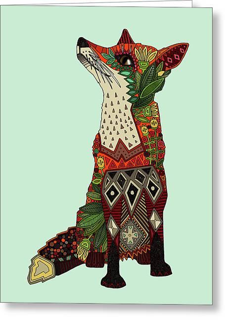 Fox Love Mint Greeting Card by Sharon Turner