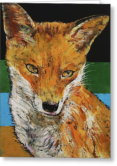 Red Fox Greeting Card by Michael Creese