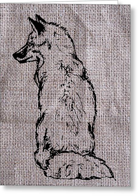 Fox On Burlap  Greeting Card