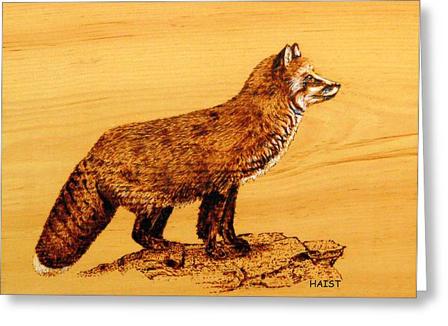 Greeting Card featuring the pyrography FOX by Ron Haist