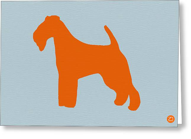 Fox Terrier Orange Greeting Card by Naxart Studio