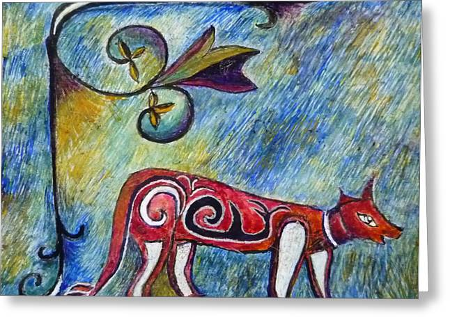Fox Totem Greeting Card by Catherine Meyers