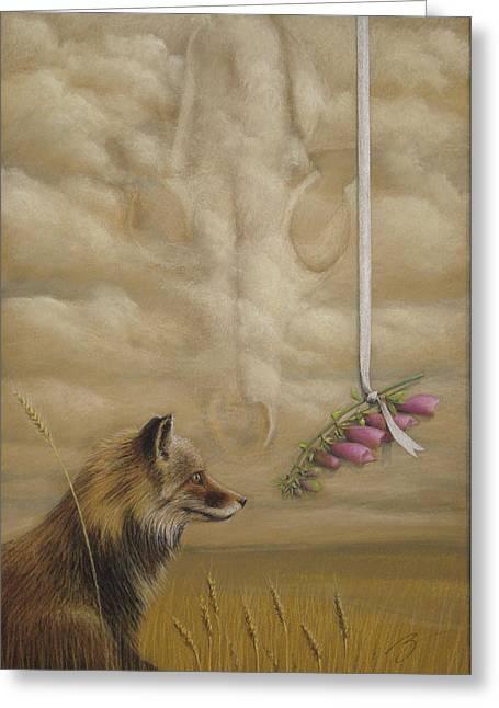 Foxes - Pastel Greeting Card by Ben Kotyuk