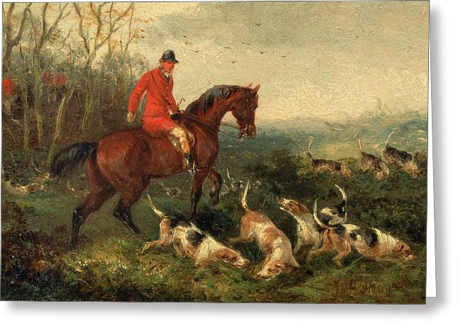 Foxhunting At Cover Signed And Dated In Brown Paint Greeting Card by Litz Collection