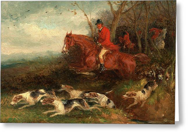 Foxhunting Breaking Cover, William J. Shayer Greeting Card by Litz Collection