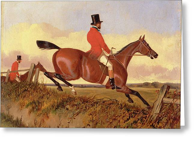 Foxhunting Clearing A Bank, John Dalby, Active 1826-1853 Greeting Card by Litz Collection