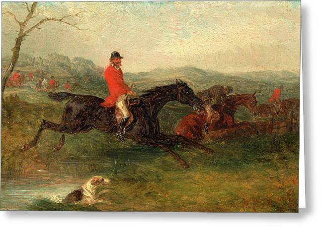 Foxhunting Clearing A Brook Signed And Dated In Red Paint Greeting Card by Litz Collection