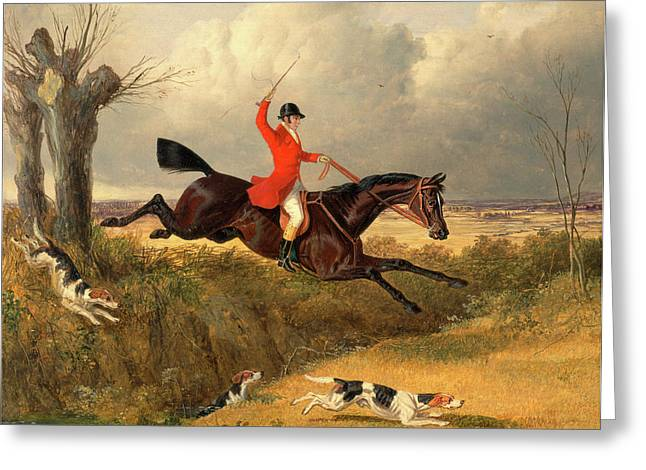 Foxhunting Clearing A Ditch Signed And Dated Greeting Card by Litz Collection