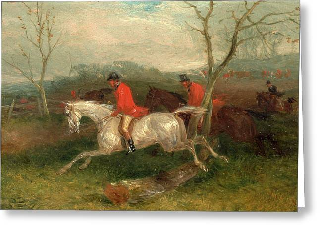 Foxhunting Coming To A Fence Full Cry Signed And Dated Greeting Card by Litz Collection