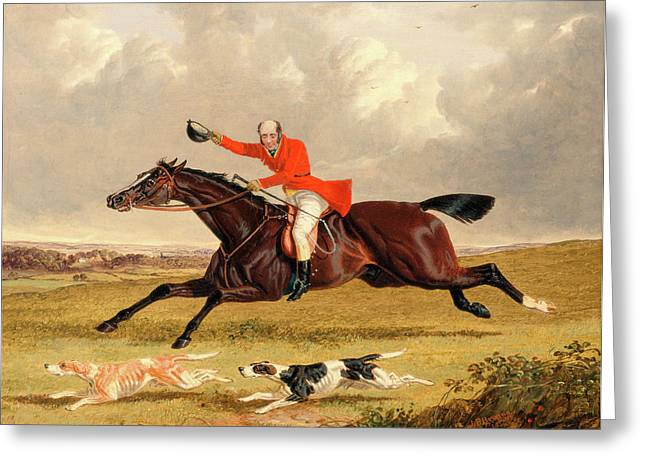Foxhunting Encouraging Hounds Capping Hounds And Full Cry Greeting Card by Litz Collection