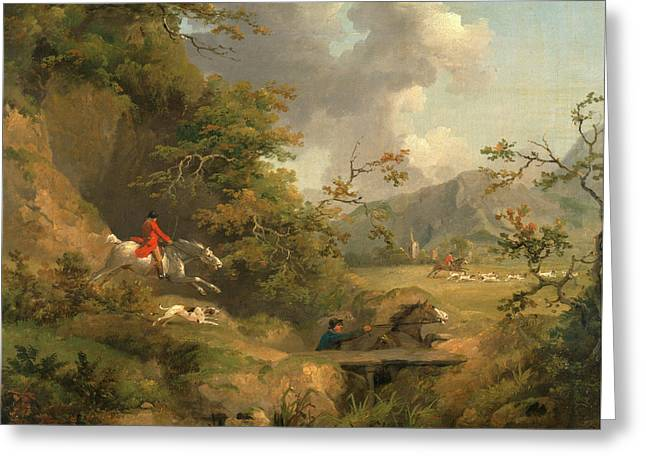 Foxhunting In Hilly Country Signed And Dated Greeting Card by Litz Collection