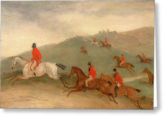 Foxhunting Road Riders Or Funkers, Richard Barrett Davis Greeting Card by Litz Collection