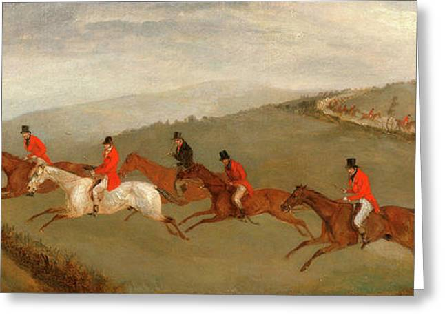 Foxhunting The Few Not Funkers, Richard Barrett Davis Greeting Card by Litz Collection