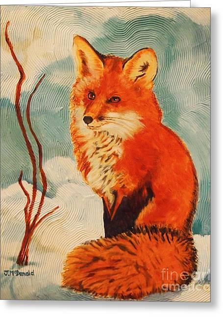 Foxy Presence Greeting Card by Janet McDonald