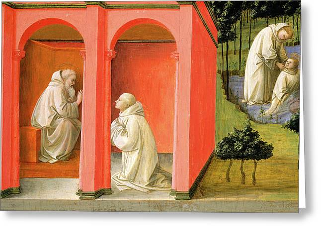 Fra Filippo Lippi, Saint Benedict Orders Saint Maurus Greeting Card by Litz Collection