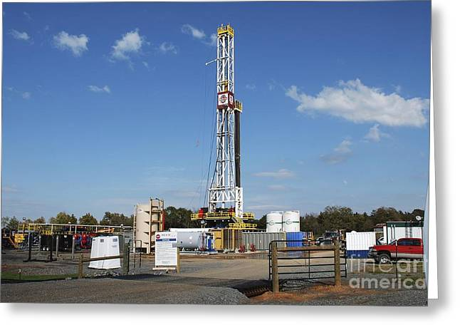 Fracking Drill Rig Greeting Card by Bill Cunningham/us Geological Survey