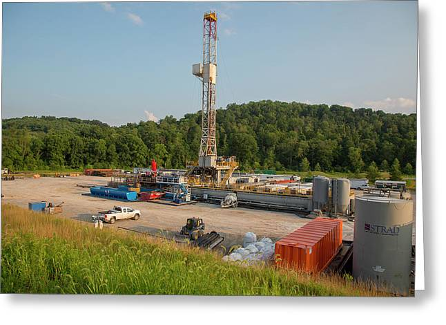 Fracking Drill Rig Greeting Card by Jim West