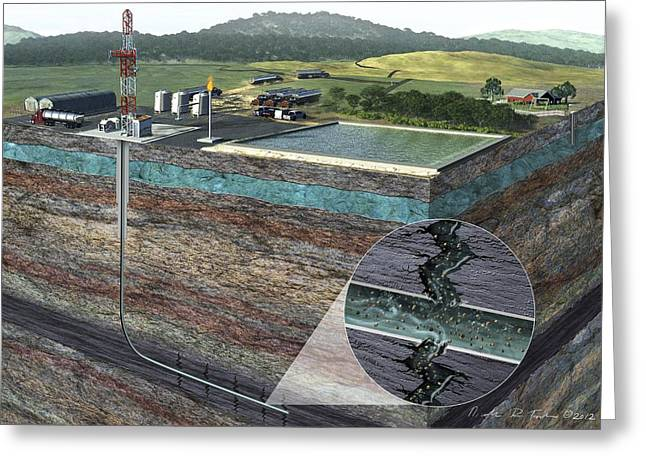 Fracking Process Greeting Card by Nicolle R. Fuller