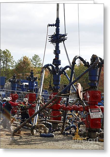 Fracking Well Heads Greeting Card by Bill Cunningham/us Geological Survey