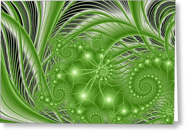 Fractal Abstract Green Nature Greeting Card by Gabiw Art