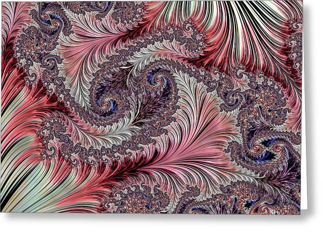 Fractal Art - Silk Brocade Greeting Card by HH Photography of Florida