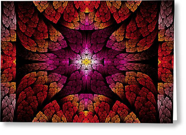 Fractal - Aztec - The All Seeing Eye Greeting Card by Mike Savad