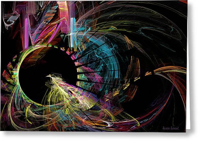 Fractal - Black Hole Greeting Card by Susan Savad
