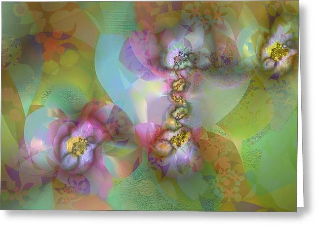Greeting Card featuring the digital art Fractal Blossoms by Ursula Freer