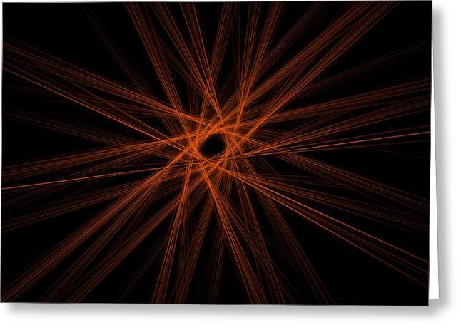 Fractal Digital Abstract Red Image Black Modern Art Greeting Card