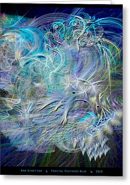 Fractal Feathers Blue Greeting Card
