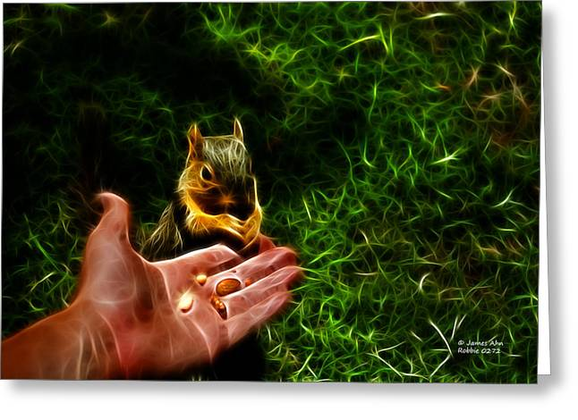 Greeting Card featuring the digital art Fractal - Feeding My Friend - Robbie The Squirrel by James Ahn