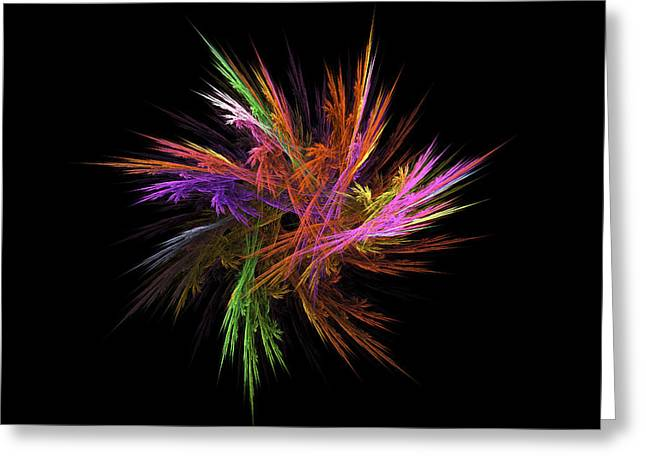 Fractal Flame - Digital Flower Image - Modern Art Greeting Card by Keith Webber Jr