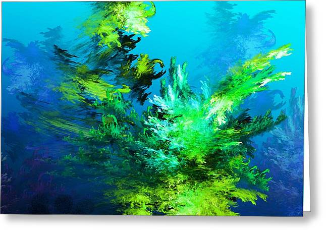 Fractal Forest Greeting Card by David Lane