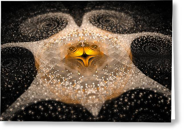 Fractal Galaxy With Sparkling Stars Gold And White Greeting Card by Matthias Hauser