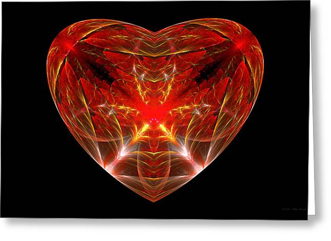 Fractal - Heart - Open Heart Greeting Card by Mike Savad