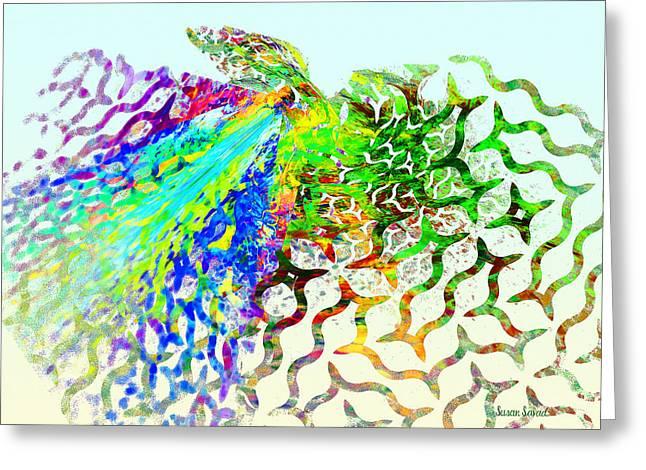Fractal - Hummingbird Greeting Card by Susan Savad
