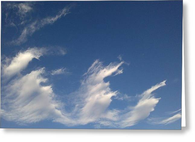 Greeting Card featuring the digital art Fractal-like Clouds by Lea Wiggins